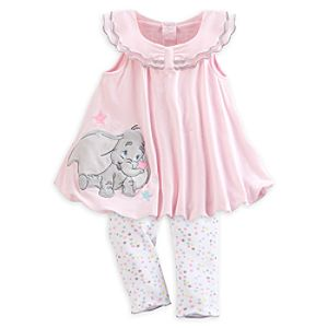 Dumbo Layette Baby Knitted Dress and Leggings Set