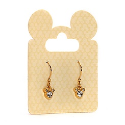 Mickey Mouse Crystal Drop Earrings, Gold Plate
