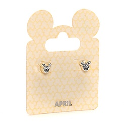 Mickey Mouse Swarovski Birthstone Earrings - April