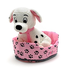 101 Dalmatians 24cm Soft Toy Puppy and Basket