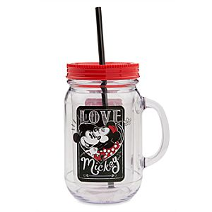 Mickey And Minnie Mouse Love Jelly Jar With Straw