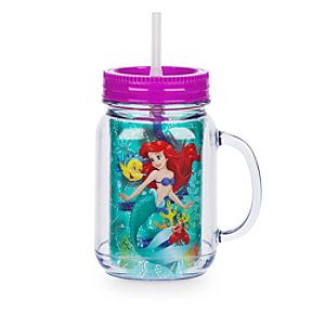 Ariel Jam Jar Cup With Straw, The Little Mermaid